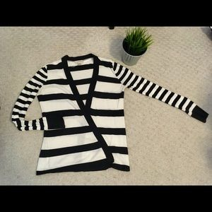 LOFT lightweight cardigan in mixed stripe